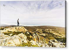 Hiker Man On Top Of A Mountain Acrylic Print by Jorgo Photography - Wall Art Gallery