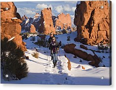 Hiking In Arches National Park Acrylic Print by Utah Images