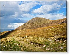 Hiking Trail Across The Mountain Range In County Kerry Acrylic Print by Semmick Photo