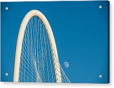 Margaret Hunt Hill Bridge With Day Moon Acrylic Print by Tod and Cynthia Grubbs