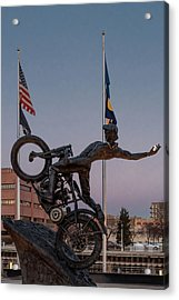 Acrylic Print featuring the photograph Hill Climber Catches The Moon by Randy Scherkenbach