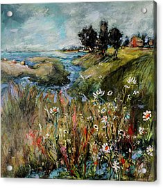 Hill Top Wildflowers Acrylic Print by Sharon Furner