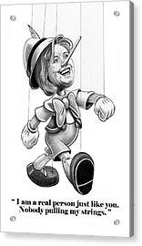 Hillary Puppet Acrylic Print by Murphy Elliott