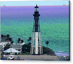 Hillsboro Lighthouse Purple Horizon Acrylic Print