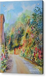 Acrylic Print featuring the painting Hillside Street Hythe Kent by Beatrice Cloake