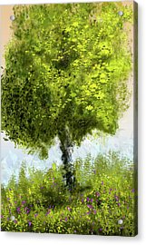Acrylic Print featuring the digital art Hillside Tree by Barry Jones