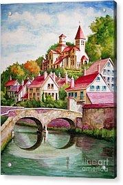 Hillside Village Acrylic Print by Charles Hetenyi