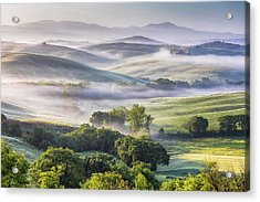 Hilly Tuscany Valley At Morning Acrylic Print