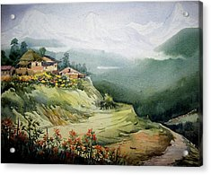 Acrylic Print featuring the painting Himalaya Village Landscape by Samiran Sarkar