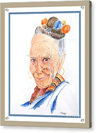 Himalayan Smile Lines -- Portrait Of Old Asian Woman Acrylic Print
