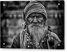 Hindu Holy Man 1 Acrylic Print by David Longstreath