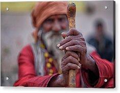 hindu Holy Man Hands Acrylic Print by David Longstreath