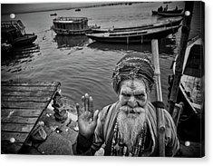 Hindu Holy Man Hello Acrylic Print by David Longstreath