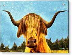 Hippie Cow - Da Acrylic Print by Leonardo Digenio