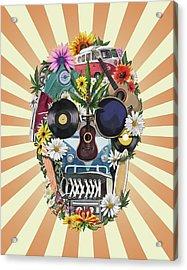 Hippie Retro Skull 2 Acrylic Print