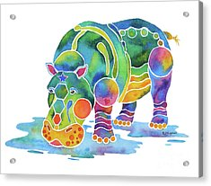 Hippo Heaven Acrylic Print by Jo Lynch