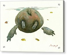 Hippo Mom With Baby Acrylic Print