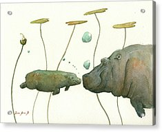 Hippo Mom With Babyv Acrylic Print