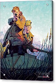 His First Duck Acrylic Print by Norman Rockwell