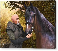 Acrylic Print featuring the digital art His Noble Steed by Jayne Wilson