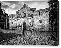 Historic Alamo Mission - San Antonio Texas - Black And White Acrylic Print by Gregory Ballos