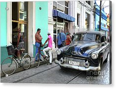 Historic Camaguey Cuba Prints The Cars 2 Acrylic Print by Wayne Moran