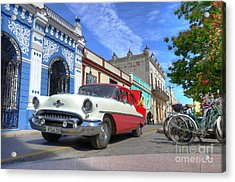 Historic Camaguey Cuba Prints The Cars Acrylic Print by Wayne Moran