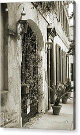 Historic Home Wrought Iron Gate Charleston Sepia Acrylic Print