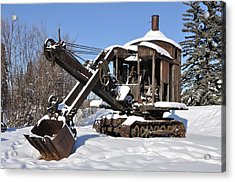 Historic Mining Steam Shovel During Alaska Winter Acrylic Print