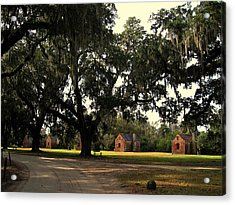 Historic Slave Houses At Boone Hall Plantation In Sc Acrylic Print by Susanne Van Hulst