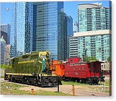Historic Train Engine And Caboose At Roundhouse Park Toronto Acrylic Print by John Malone