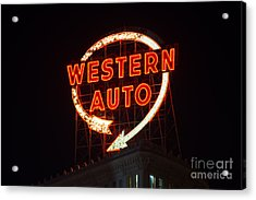 Historic Western Auto Sign Acrylic Print by Jean Hutchison