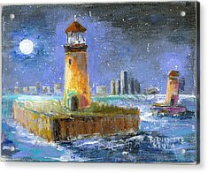 Historical 1859 South Channel Lights Full Moon Acrylic Print