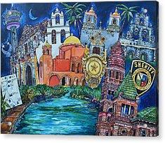 Acrylic Print featuring the painting Historical 401s San Antonio by Patti Schermerhorn