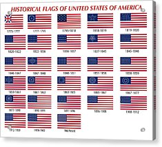 Historical Flags Of United States Of America Acrylic Print