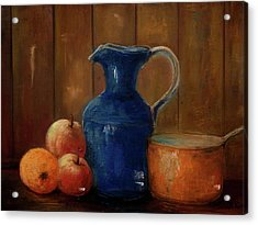 Acrylic Print featuring the painting Historical Jamestown Virginia Blue Colbalt Pitcher  by Bernadette Krupa