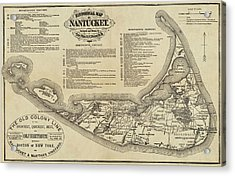 Historical Map Of Nantucket From 1602-1886 Acrylic Print