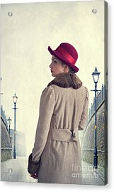 Historical Woman In An Overcoat And Red Hat Acrylic Print by Lee Avison