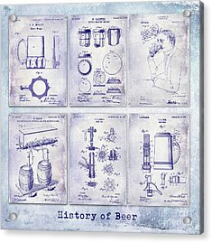 History Of Beer Patents Blueprint Acrylic Print by Jon Neidert