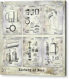 History Of Beer Patents Acrylic Print by Jon Neidert