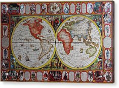 History Of Chess World Map Painted On Leatheder Acrylic Print