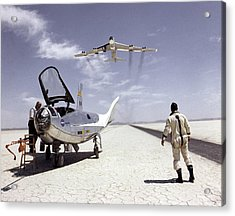 Hl-10 On Lakebed With B-52 Flyby Acrylic Print