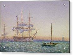 Hm Frigates At Anchor Acrylic Print by John Joy