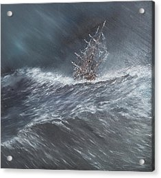 Hms Beagle In A Storm Off Cape Horn Acrylic Print by Vincent Alexander Booth