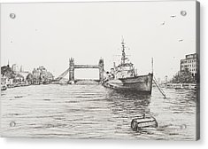 Hms Belfast On The River Thames Acrylic Print by Vincent Alexander Booth