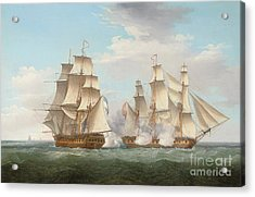 Hms Ethalion In Action With The Spanish Frigate Thetis Off Cape Finisterre Acrylic Print by Thomas Whitcombe
