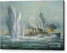 Hms Exeter Engaging In The Graf Spree At The Battle Of The River Plate Acrylic Print by Richard Willis