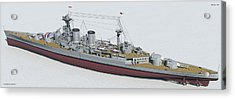 Hms Hood 1937 - Stern To Bow Tech Acrylic Print by Christopher Snook