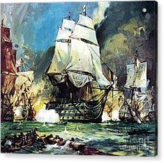 Hms Victory At The Battle Of Trafalgar Acrylic Print