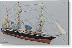 Hms Warrior 1860 - Bow To Stern Technical Acrylic Print by Christopher Snook